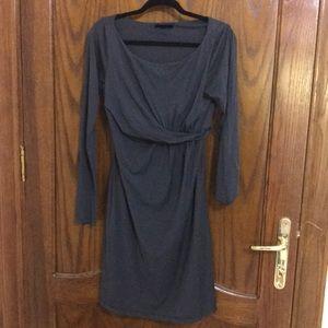 Velvet by G+S Modal Wrap Dress in Dark Gray